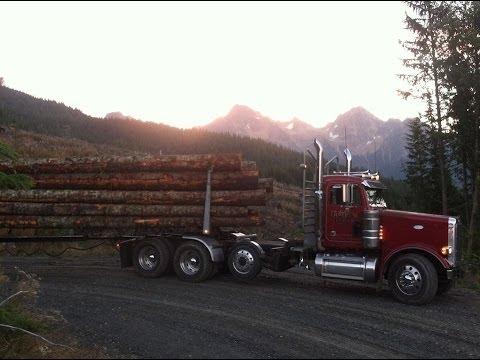 Peterbilt logging truck off Helmick Rd Jake Brake 550Cat 18spd.