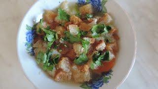 Суп гороховый с гренками. Простой и вкусный. Готовим сухарики.