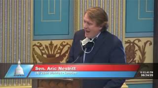 Sen. Nesbitt speaks in support of bill to protect nursing home residents