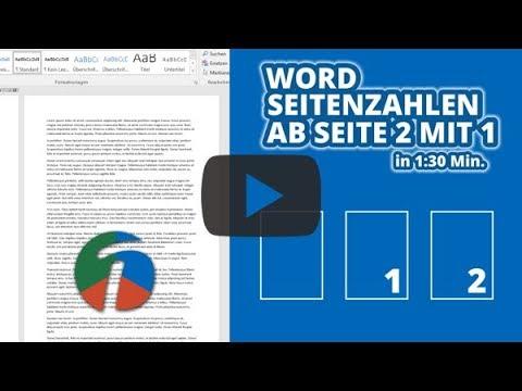 Word Seitenzahlen Ab Seite 2 Mit 1 - In 1:30 Erklärt!