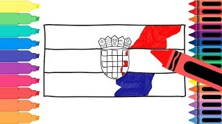 How to Draw Croatia Flag - Drawing the Croatian Flag - Coloring Pages for kids | Tanimated Toys