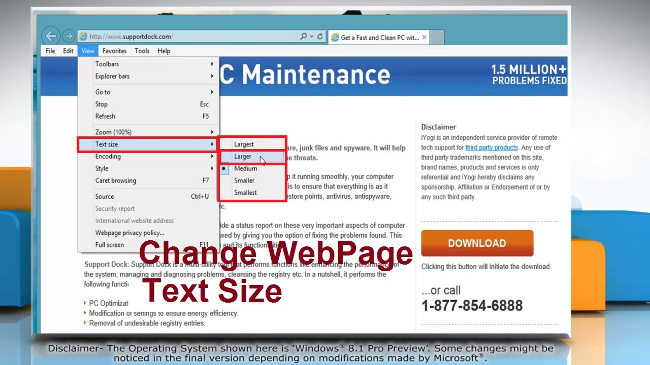 How To Change Text Size In Internet Explorer 11 On Windows 8 1 Pc Youtube