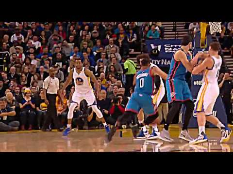 Russell Westbrook dunks on kd Kevin Durant (warriors vs okc thunder 1.18.17)