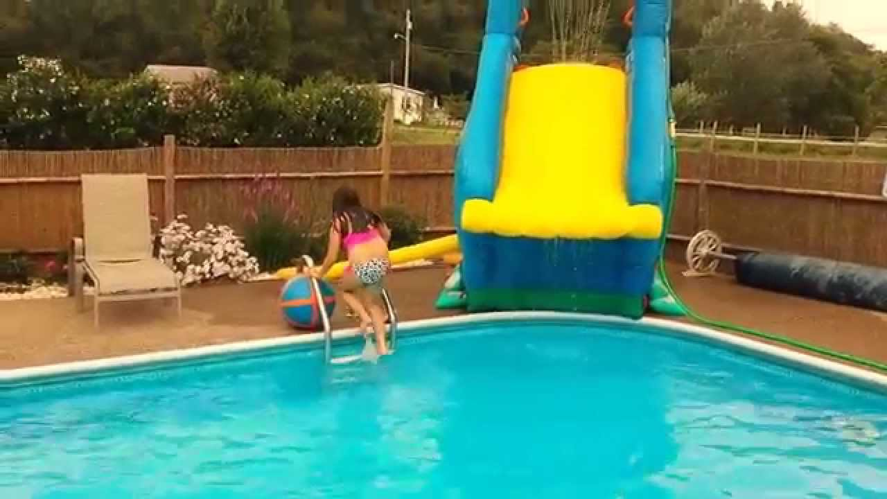 more fun on crazy inflatable pool slide banzai blaster inground pool youtube - Inflatable Pool Slide