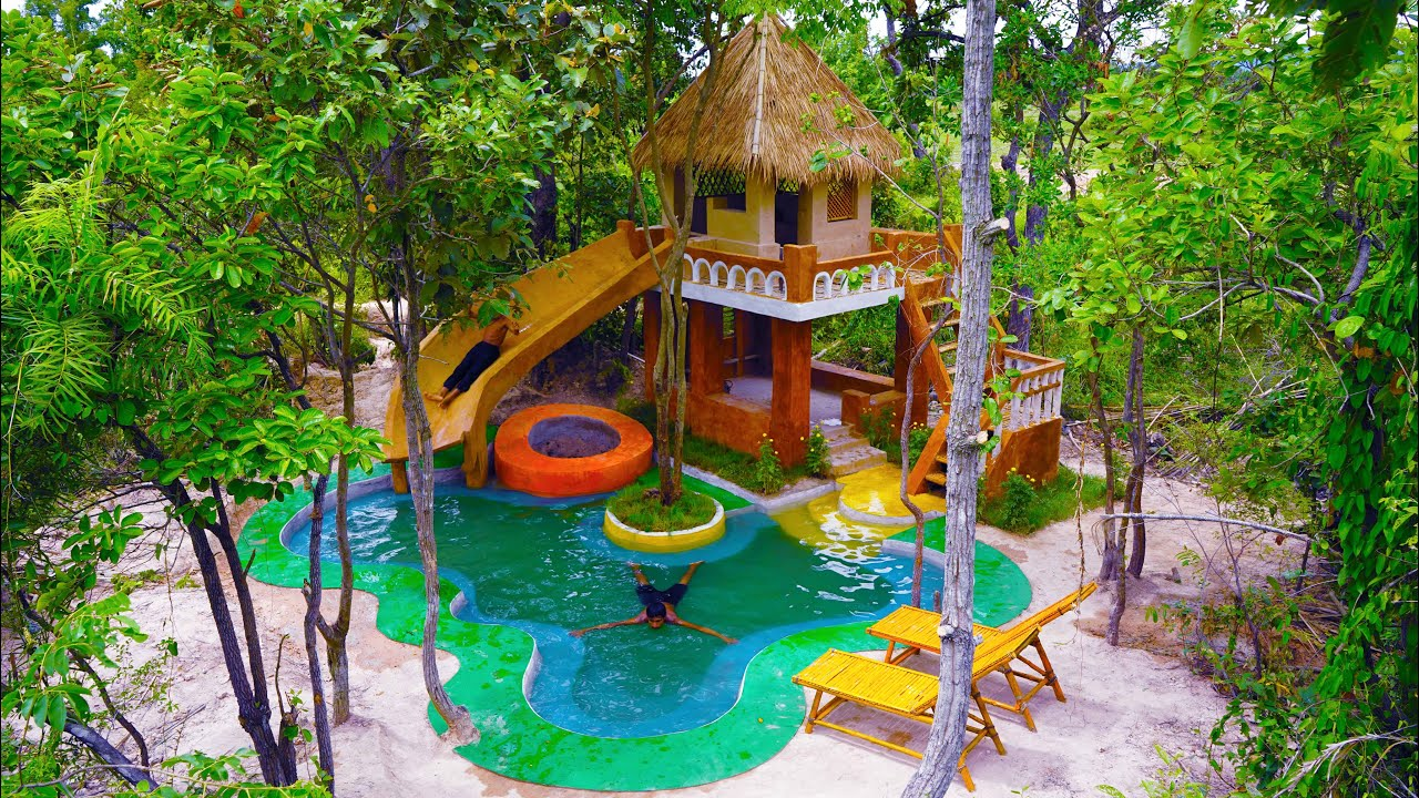 [Full Video] Building The Most Creative House,Groundwater Well & Modern Water slide To Swimming Pool