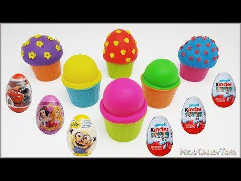 Surprise Eggs Kinder Eggs Play Doh Ice Cream Disney Princess Cars Minions