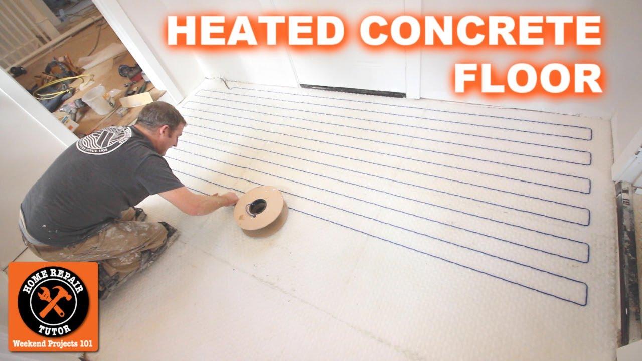 heated floor on concrete slab with strata heat