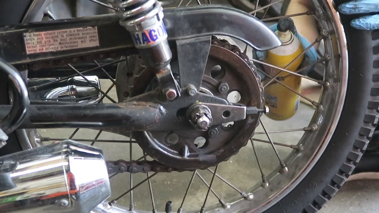 Chain Tension Adjustment on Vintage Honda Motorcycles: 3 Steps (with