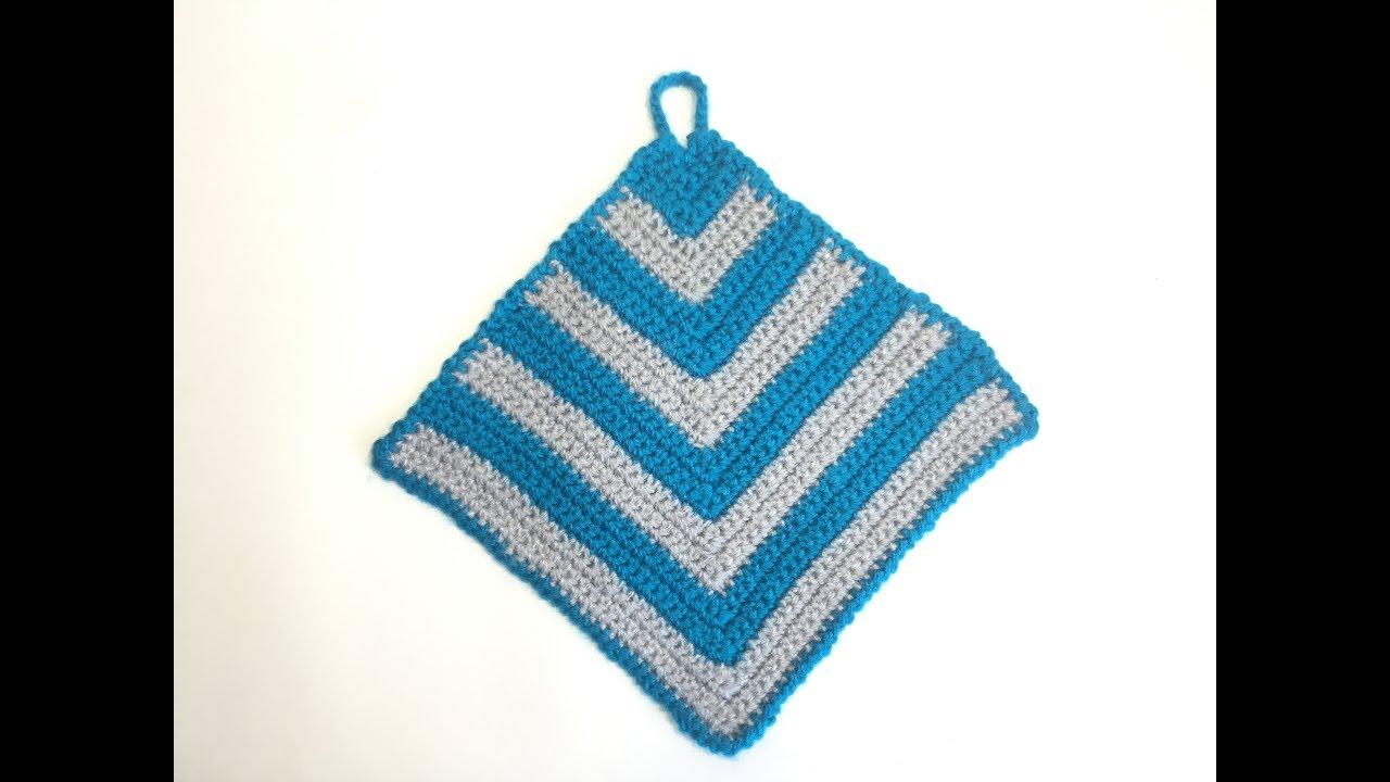 Простая квадратная салфетка-прихватка крючком/Simple square crochet doily