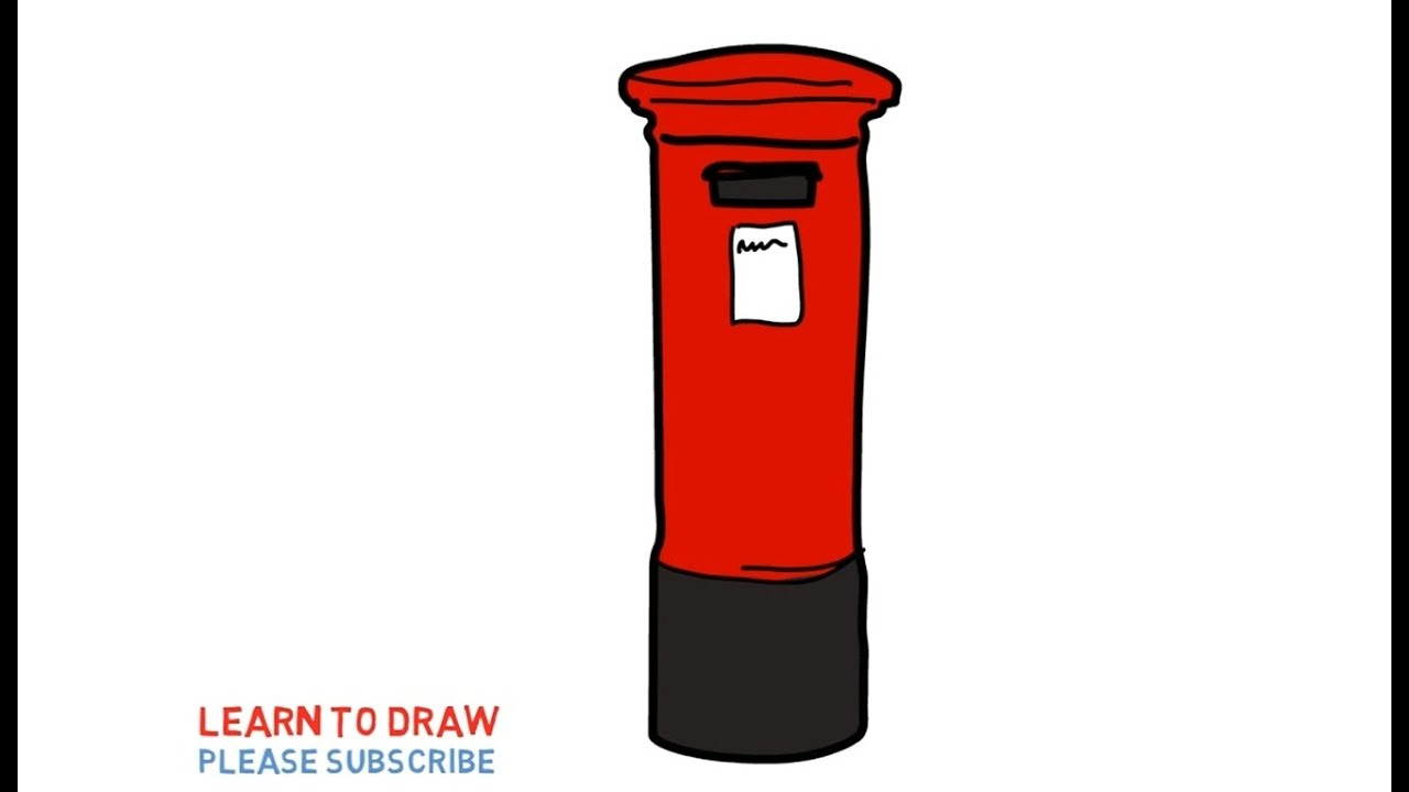 Easy Step For Kids How To Draw a Mail Box | Coloring Book Page and Drawing  Learn Colors For Kids