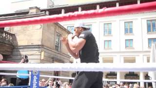 ANTHONY JOSHUA SHADOW BOXING @ OPEN WORKOUT IN COVENT GARDEN AHEAD OF KEVIN JOHNSON CLASH