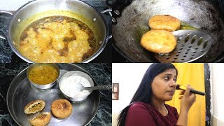 Indian lunch Routine    Urad Dal Kachori    Kachori wali Aloo Ki Sabji    Sharing My Makeup products