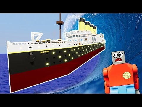 LEGO TITANIC DESTROYED BY LEGO TSUNAMI! - Brick Rigs Gameplay - Lego City Disaster Survival