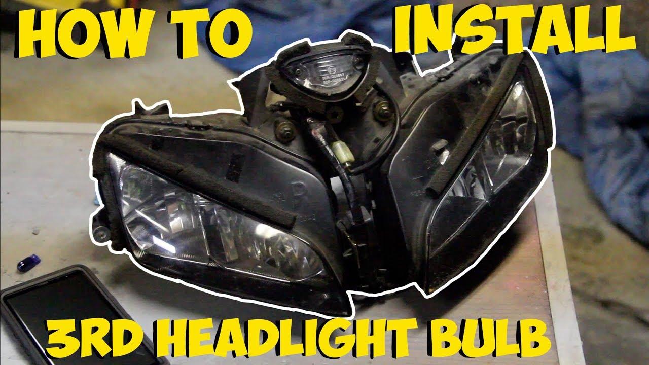 How To Install 3rd Headlight Bulb 2005 Honda Cbr600rr