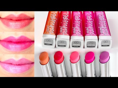 Maybelline Color Whisper Lipstick Swatches on Lips 5 colors - YouTube