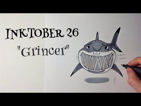 Inktober 26 requin cartoon dessin youtube - Requin dessin ...
