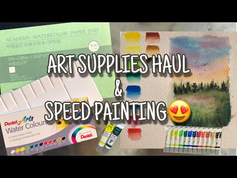 ART SUPPLIES HAUL, PENTEL WATERCOLOR REVIEW AND SPEED PAINTING (BAHASA INDONESIA)
