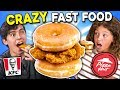 Generations React To CRAZY Fast Food (KFC Donut Sandwich, Pizza Hut Cheez It Pizza)