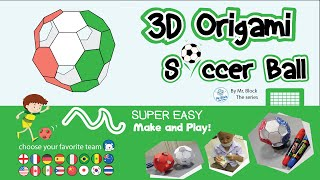 How to Make 3D Origami Soccer Ball Italy team