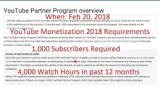 YouTube Monetize 2018: 1,000 Subscribers and 4,000 Hours.