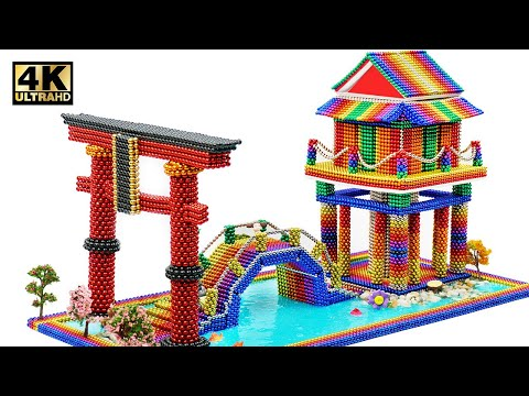 DIY - How To Build Japanese Temple From Magnetic Balls (Satisfying) | Magnet World Series