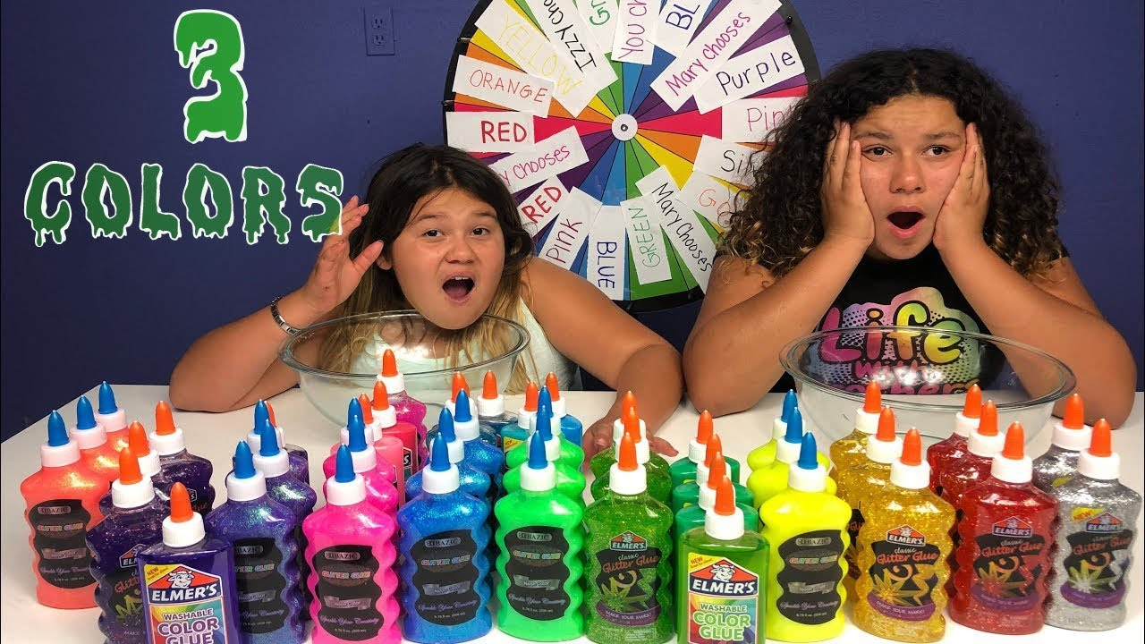 Slime Mary Izzy: 3 3 COLORS OF GLUE SLIME CHALLENGE