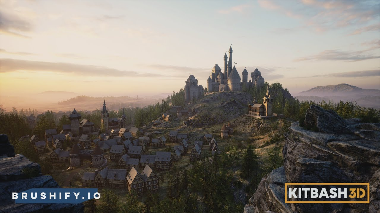Brushify - Building an Epic Fairytale city with Kitbash3D (Showcase)  (Unreal Engine 4)