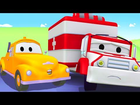 Bärgningsbilen Tom och ambulansen Amber i Bilköping | Byggserier om bilar och lastbilar (för barn)