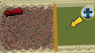 10.000 Aldeanos VS 1 Titan Zombie VS 1 Titan Iron Golem - Minecraft Arena (Villagers/mobs/boss)