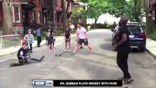 P.K. Subban Plays Hockey On Streets Of Montreal With Fans