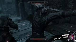 Skyrim- Unarmed Kitten Claws out a Master Vampire