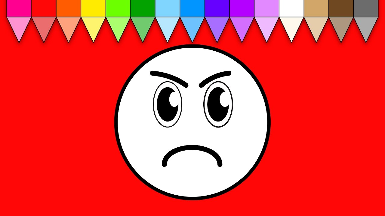 learn colors for kids and color mad smiley face coloring pages