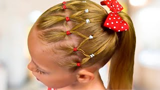 EASY Everyday hairstyle with PIGTAILS and ELASTICS (Quick and Easy hairstyle for Girls #51)