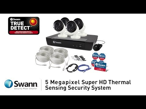 Swann 5MP SWNHD-865MSB Thermal Sensing PIR Bullet Security Camera with IR Night Vision video