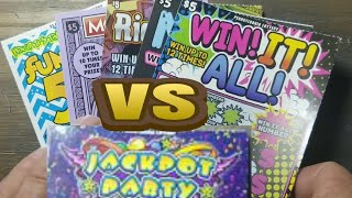 Jackpot Party vs 5 Different $5 scratch tickets