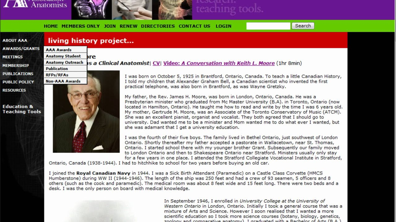 Dr Keith Moore -The Legend of Anatomy and embryology !.mp4 - YouTube