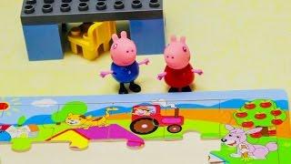 Свинка Пеппа собирает пазлы ферма и учит домашних животных. Развивающий мультик про животных