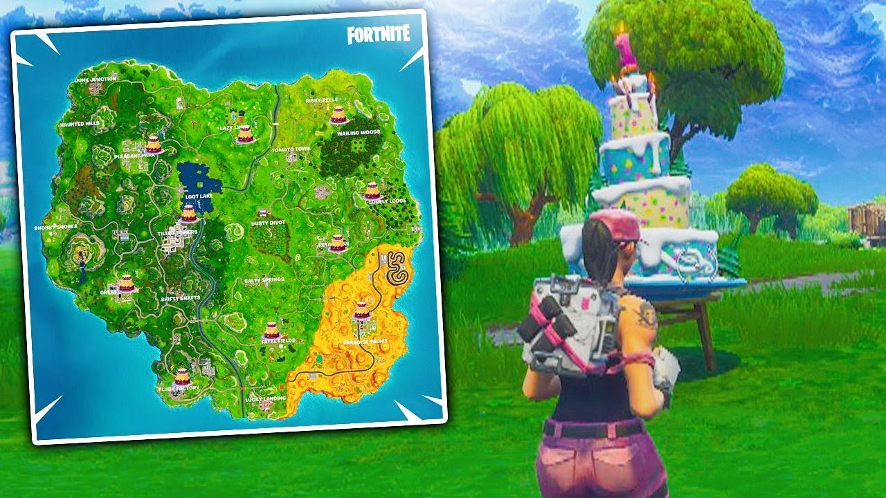 Fortnite Dance In Front Of Different Birthday Cakes Locations Birthday Challenges Unlock Youtube