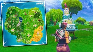 """Fortnite """"Dance in front of different Birthday Cakes"""" Locations! Birthday Challenges Unlock"""