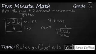 6th Grade Math Rates as Quotients