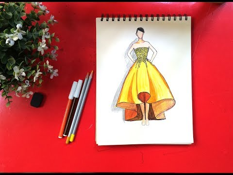 Tập thiết kế thời trang   Cách vẽ váy đầm dự tiệc màu vàng sang chảnh   Dạy bé học