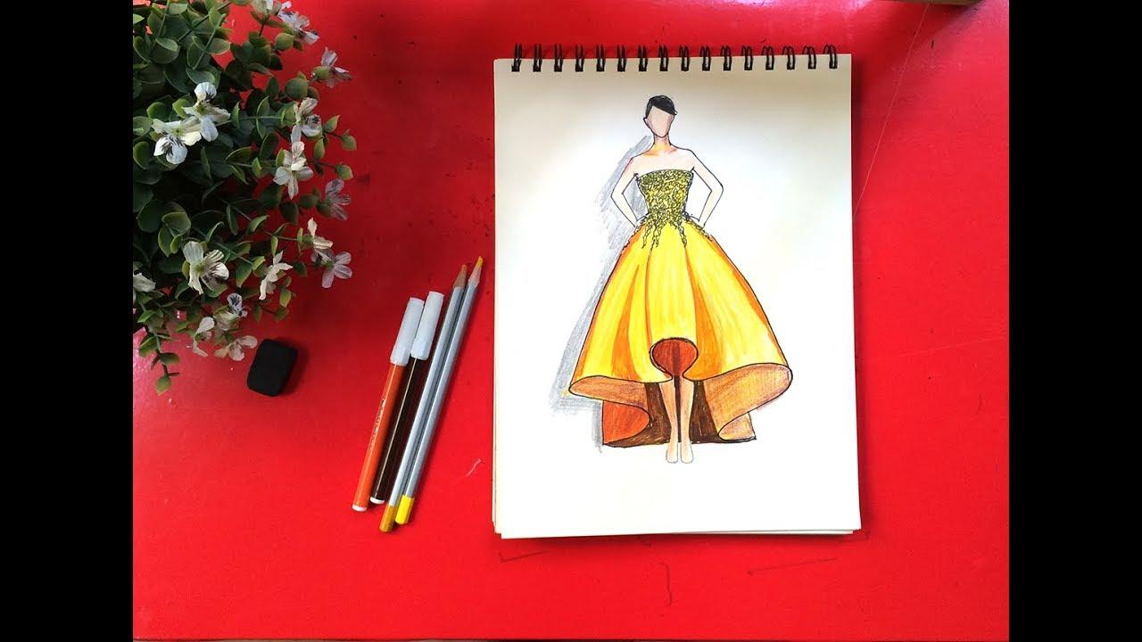 Tập thiết kế thời trang   Cách vẽ váy đầm dự tiệc màu vàng sang chảnh   Dạy bé học   Thời trang nam và những thông tin liên quan