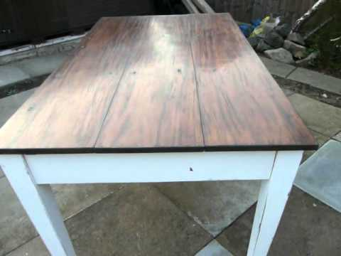 Wonderful Oak Farmhouse Table Old English White Painted Distressed Chic Furniture  FurniturTube
