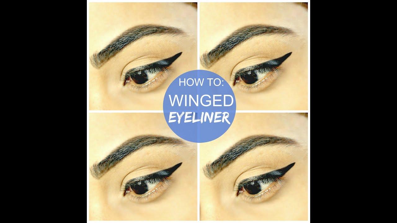 HOW TO: APPLY WINGED EYELINER | TUTORIAL | USING LIQUID ...