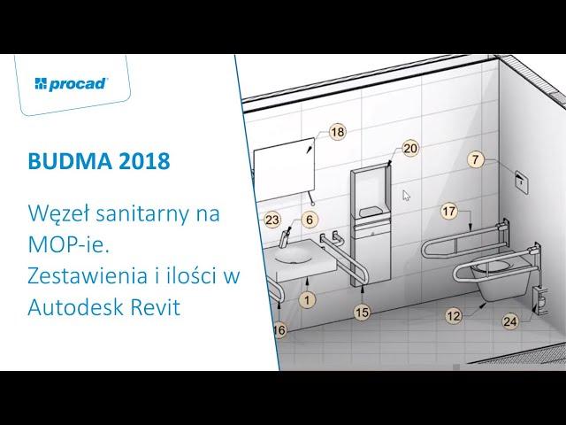 Węzeł sanitarny na MOP ie  Zestawienia i ilości w Autodesk Revit na przykładzie wyposażenia sanitarn