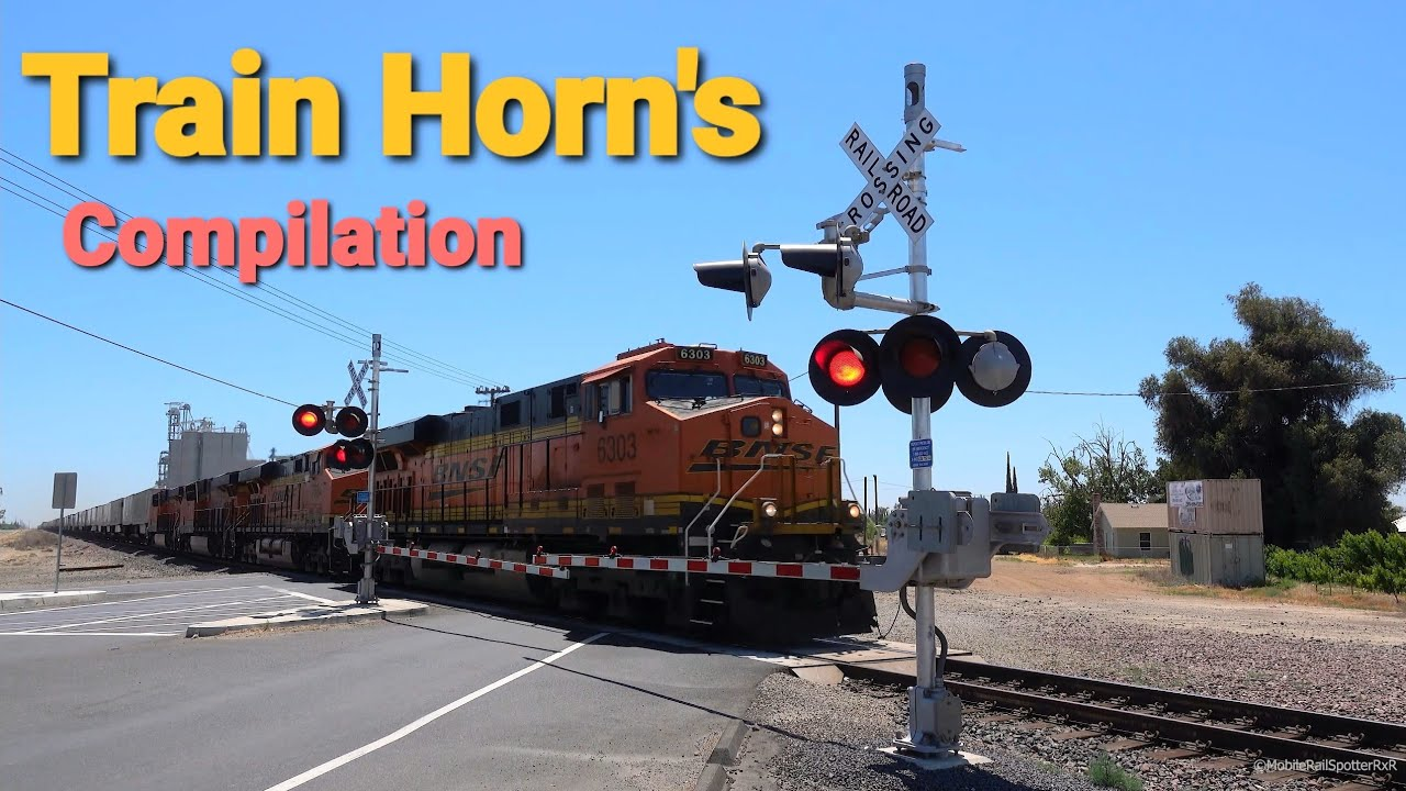 Train Horn At Crossings Compilation, Freight & Passenger Trains, USA Train Horns
