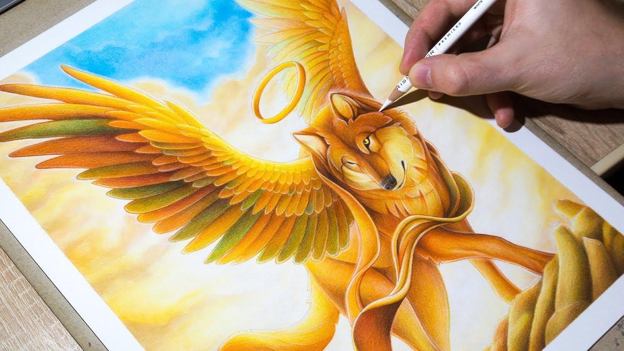 Drawing Wolf Angel Winged Wolf Art