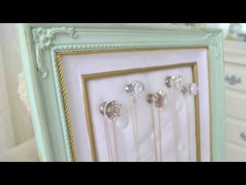 DIY Thrift Store Frame To Jewelry Organizer
