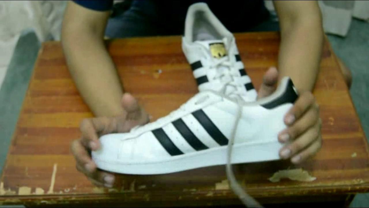 Membedakan Adidas Superstar Original   Fake - YouTube f69e755286
