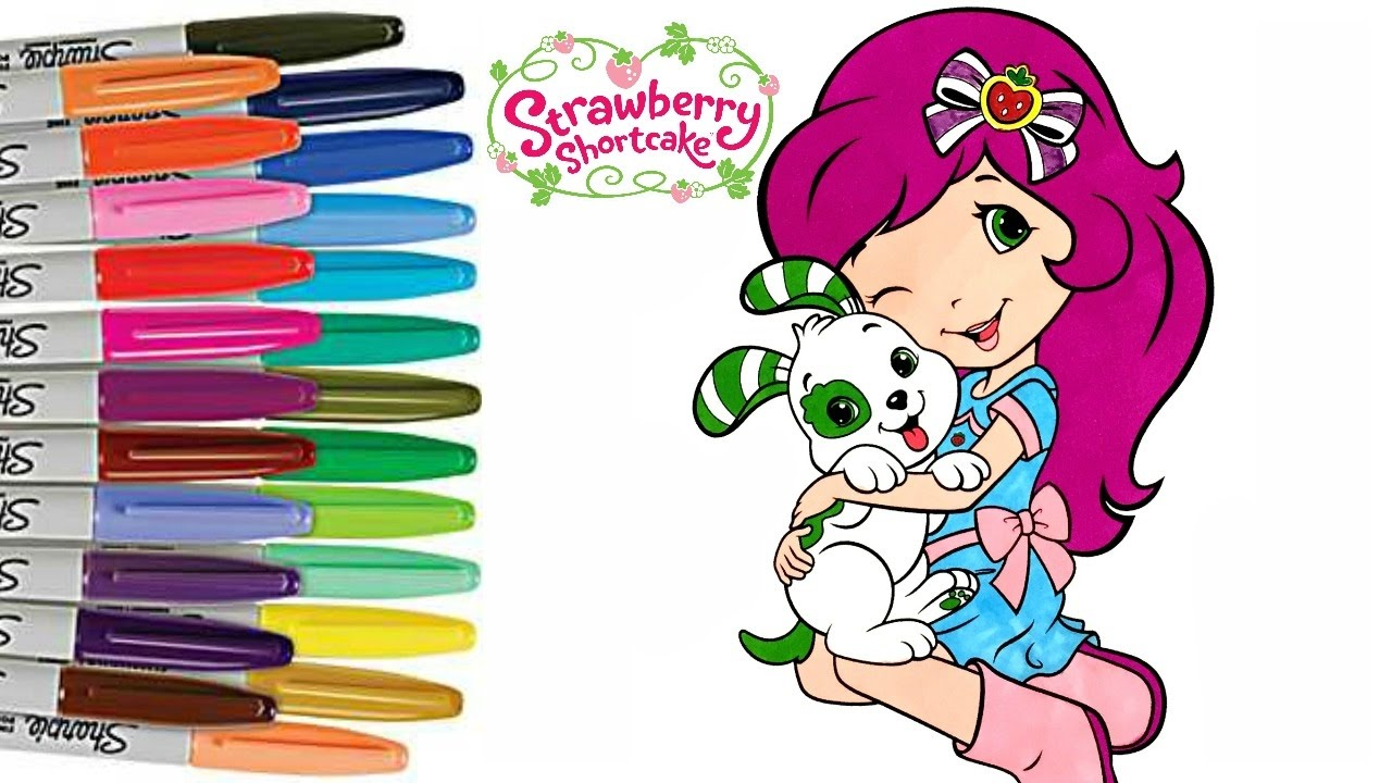 strawberry shortcake and pupcake coloring book page how to color